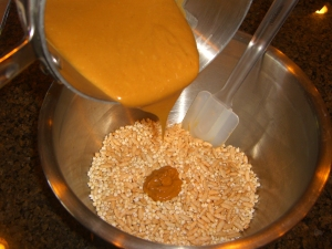 Pour Sauce into Puffed Cereal