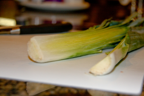Cut the Leeks Lengthwise and Clean
