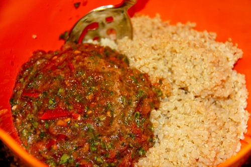 Add Tomato Mixture to Quinoa