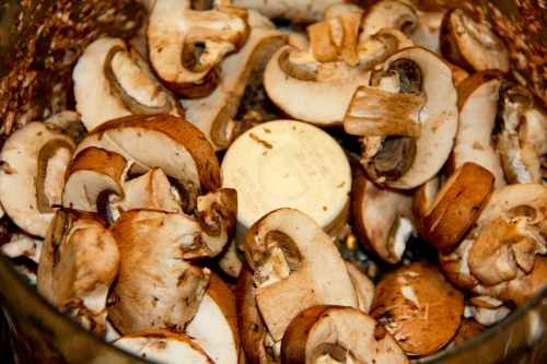 Pre-Sliced Mushrooms into the Processor