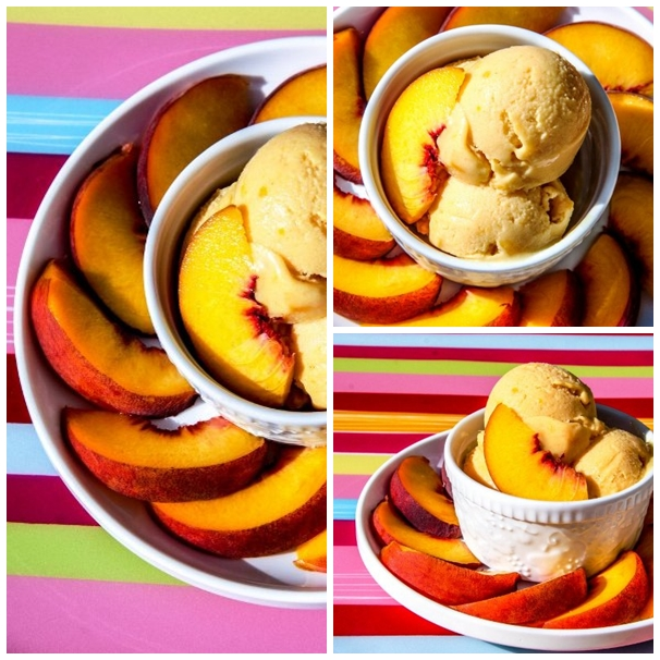 Vegan Peach Ice cream Collage 2