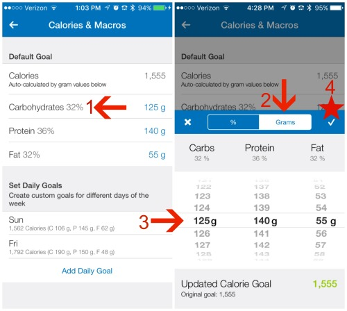 10.3 Cals Macros gram or percentage MFP