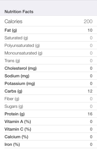 LJ Protein Bar Base Nutrition Facts